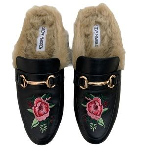 Steve Madden Jill Embroidered FauxFur Leather Mule